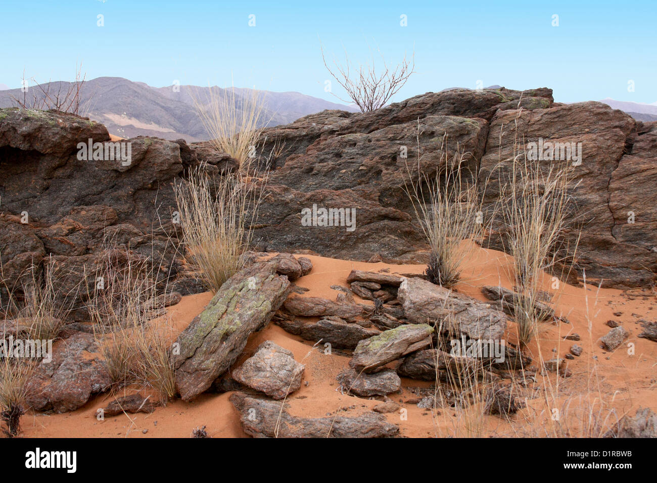 Rocky landscape in the Hartman Mountains, Norther Namibia Stock Photo