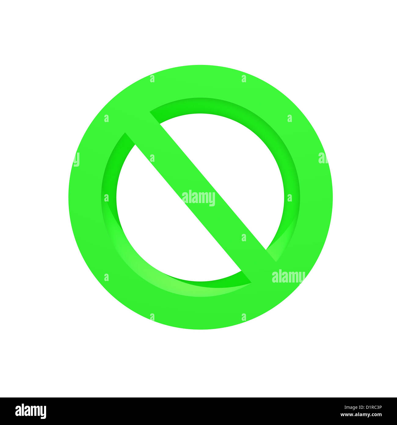 A 3d no entry symbol isolated on a white background - Stock Image