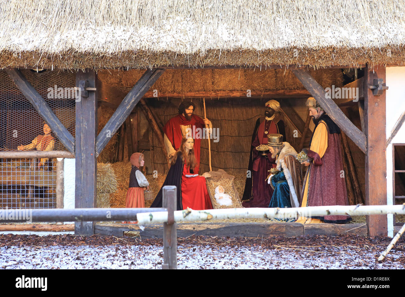 The crib at Christmas in the Grand Place, in central Brussels, in Belgium, Europe - Stock Image