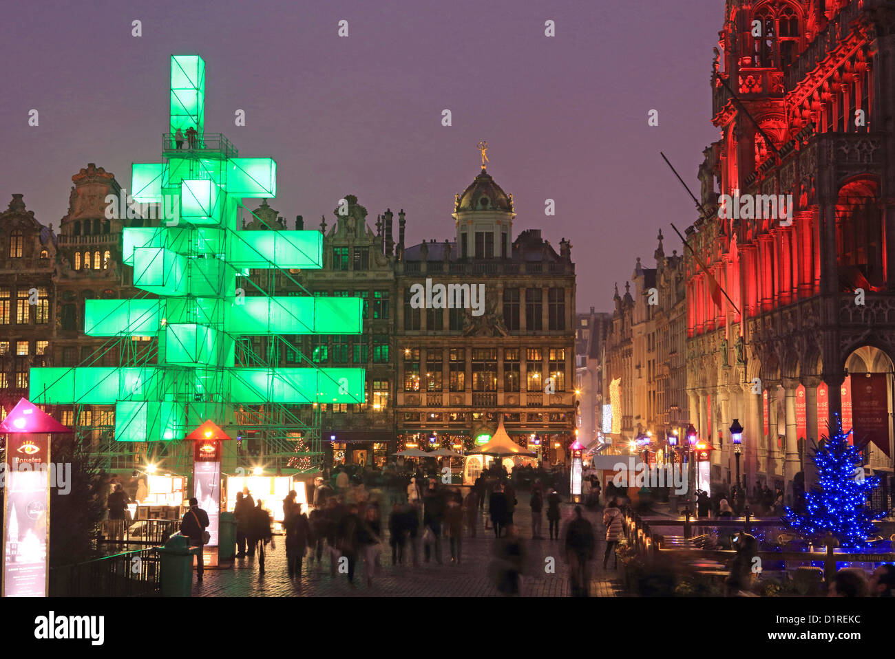 The Christmas lights and electronic tree in the the Grand Place, in ...