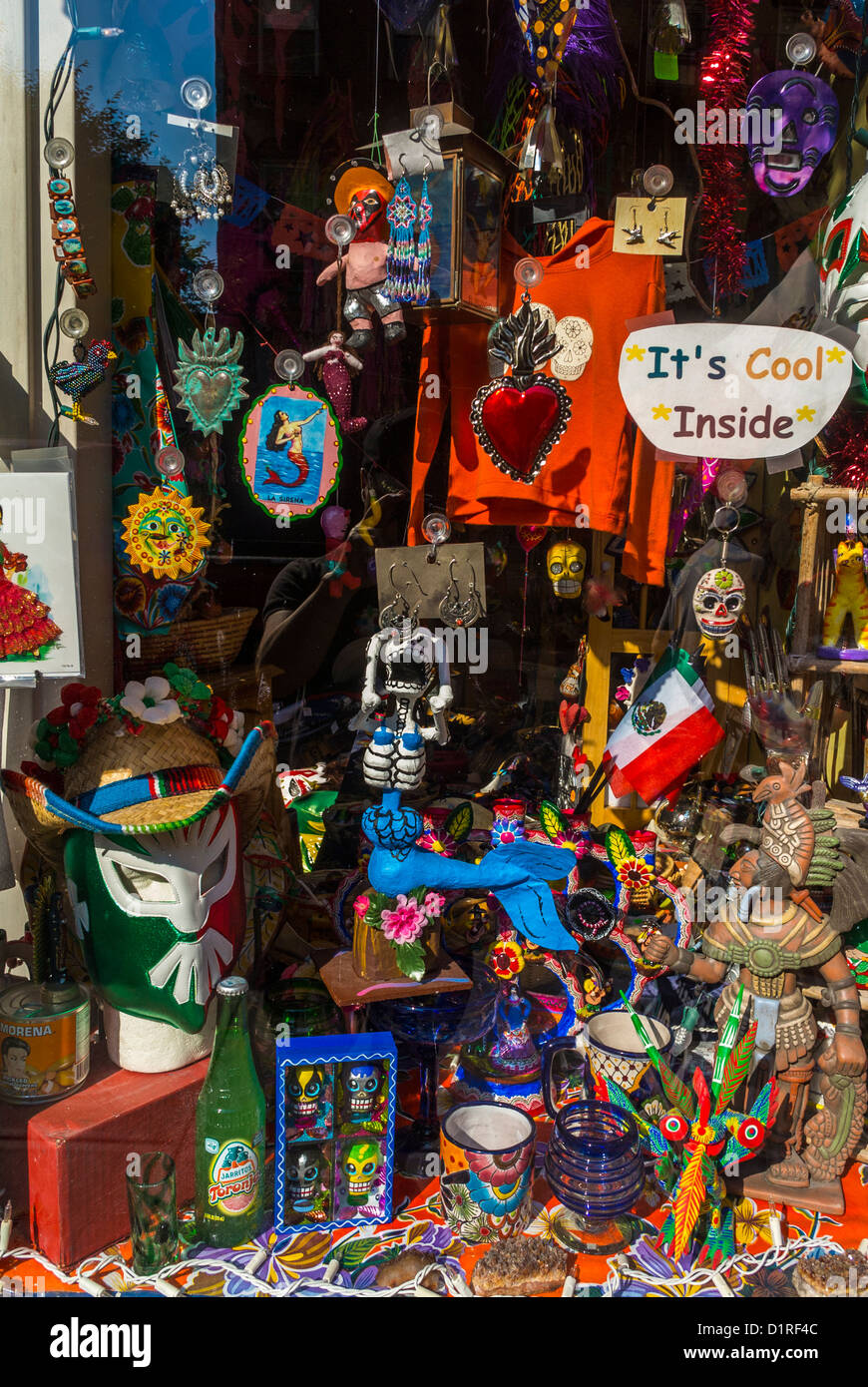 New York, East Village Shopping, 'La Sirena' Mexican Art, Objects, Window Display - Stock Image