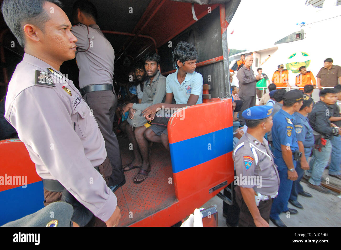 Jan 02, 2013 - West Sumatra, Indonesia - Indonesian rescue workers to evacuate Sri Lankan asylum seekers to Australia - Stock Image