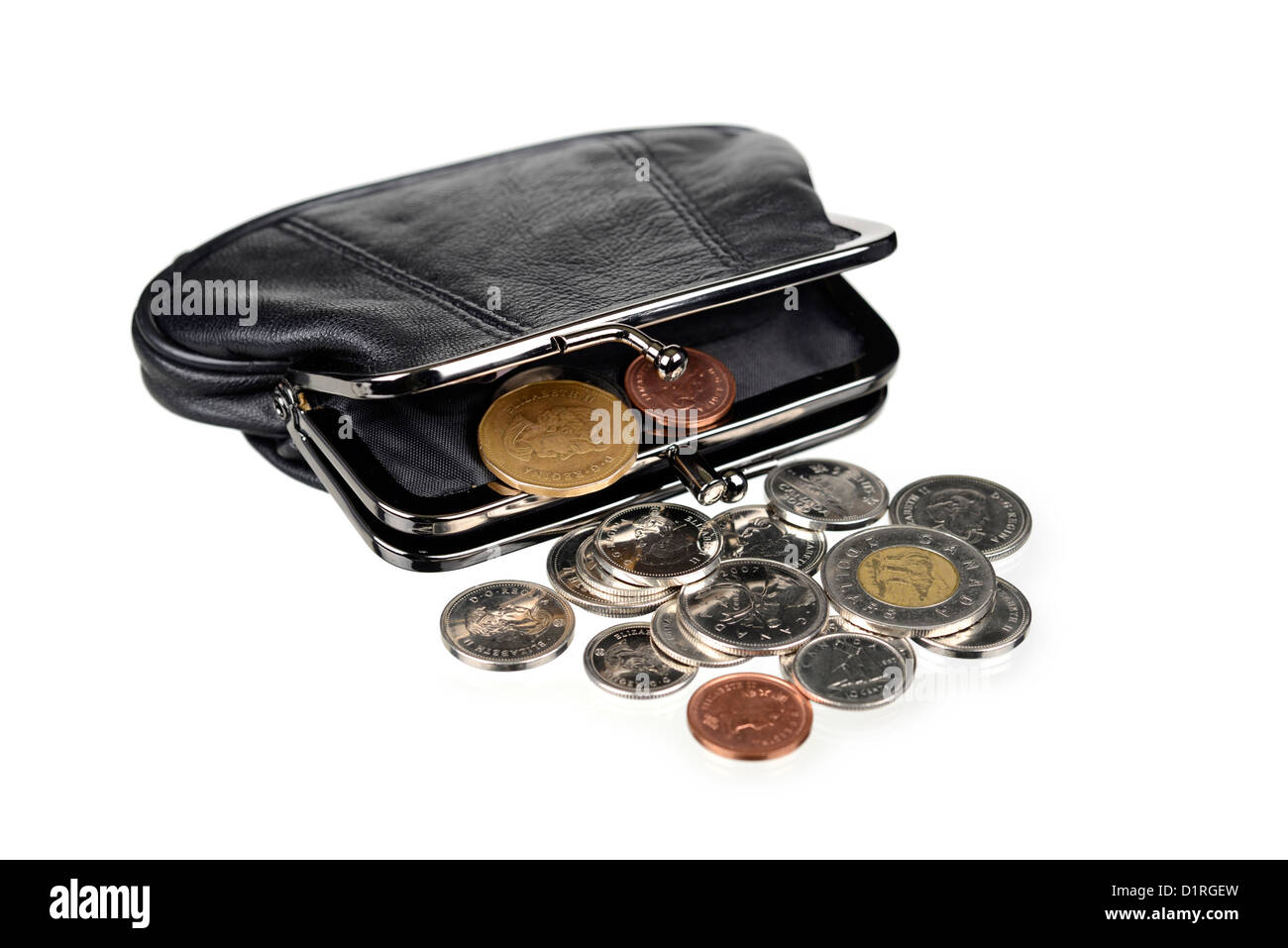 Purse with coins, Canadian money - Stock Image