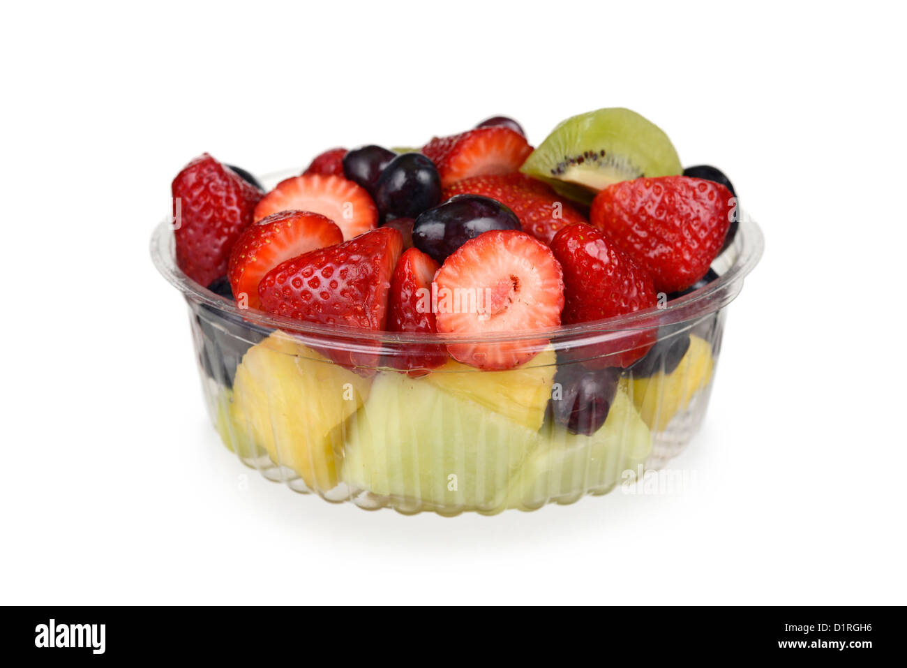 Packaged fruit salad, store bought in plastic container - Stock Image
