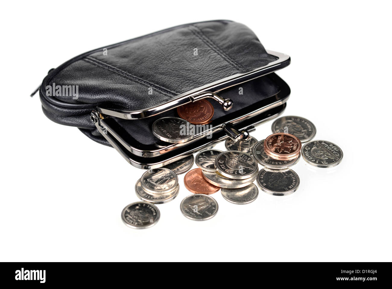 Purse with Coins, Canadian money. - Stock Image