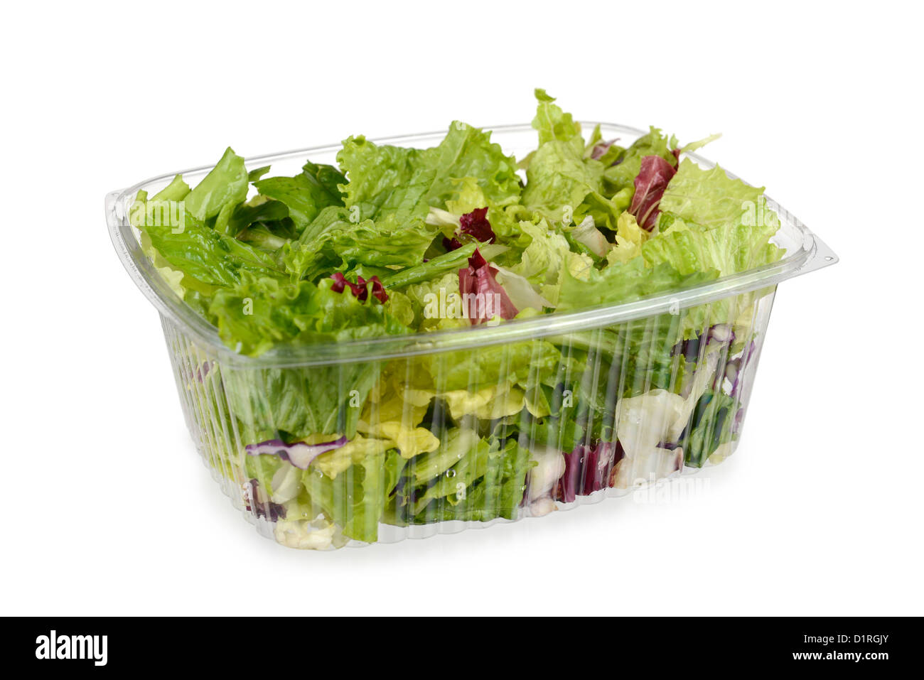 Packaged salad, Plastic container, lettuce leaves, red cabbage - Stock Image