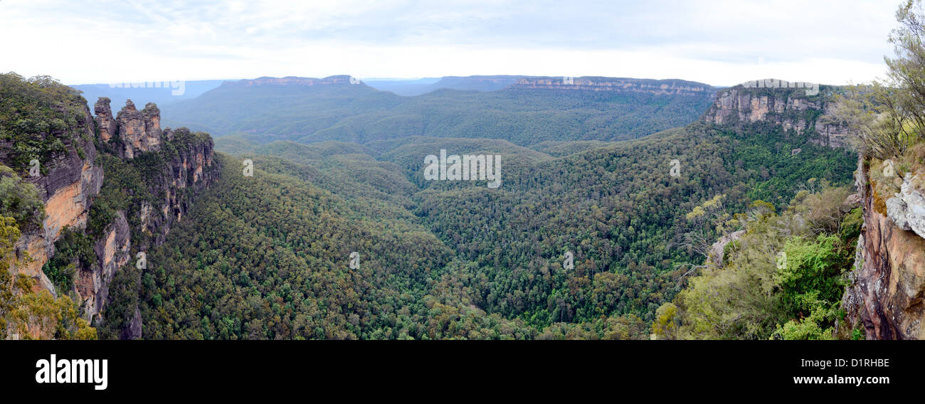 KATOOMBA, Australia - A panorama of the Blue Mountains as seen from Echo Point in Katoomba, New South Wales, Australia. - Stock Image