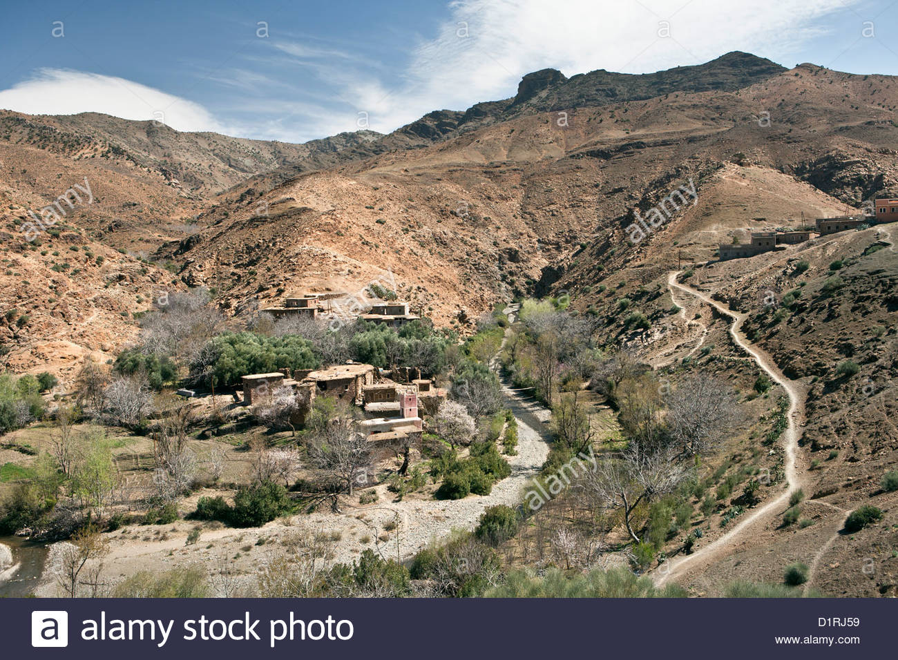 Morocco, near Tichka pass, Village. - Stock Image