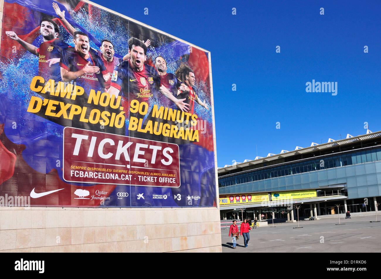 Barcelona, Catalonia, Spain. Camp Nou football stadium (1957) home of F C Barcelona Stock Photo
