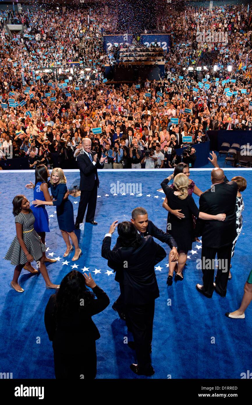 US President Barack Obama his family and Vice President Joe Biden and family join together onstage following the - Stock Image
