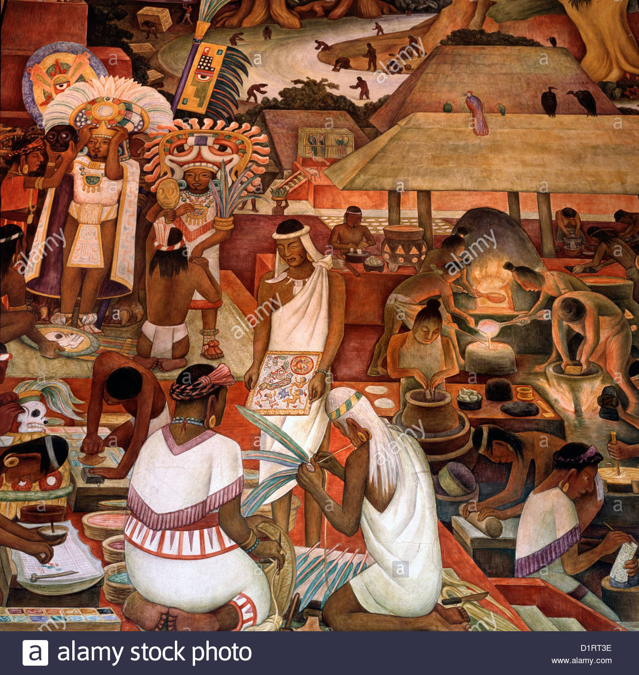 Mexico City Government Palace; mural by Diego Rivera, life of the Aztecs/Mexica in Tenochtitlan, their capital city; - Stock Image