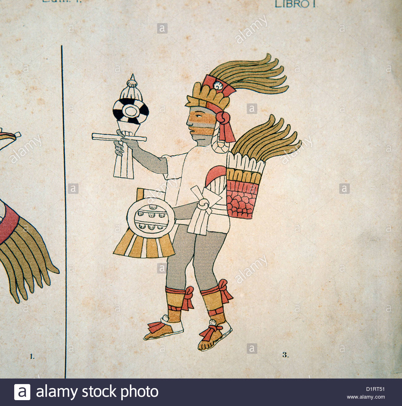 MEXICO, the aztec/mexica god, Tezcatlipoca, God of War, main divinity of Aztecs from Florence/Florentino codex (circa - Stock Image