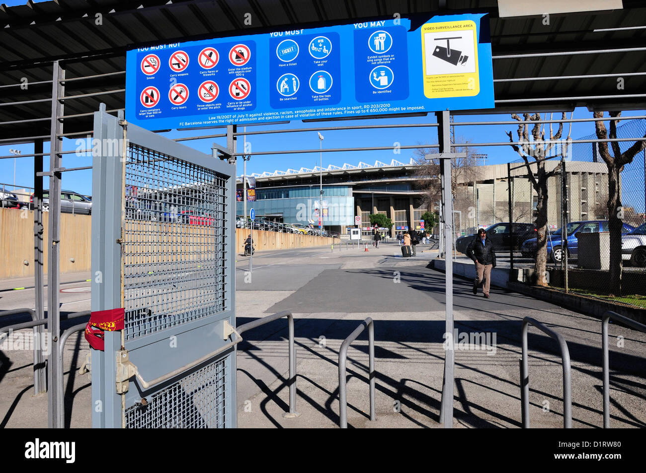 Barcelona, Catalonia, Spain. Camp Nou football stadium (1957) home of F C Barcelona. Entry gates and sign in English - Stock Image