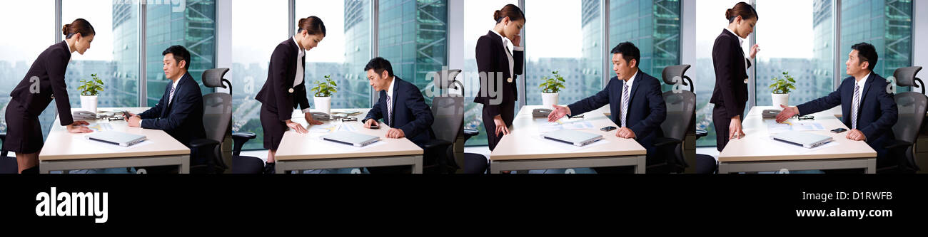 asian business people working in office - Stock Image