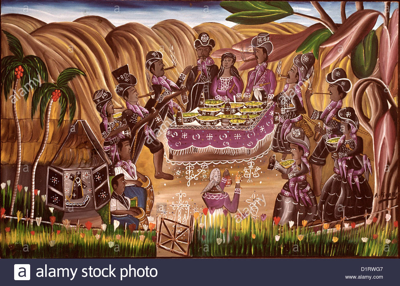 HAITI, Naive painting « The banquet of the Guédés », by Andre Pierre (1915-2005), voodoo priest; - Stock Image