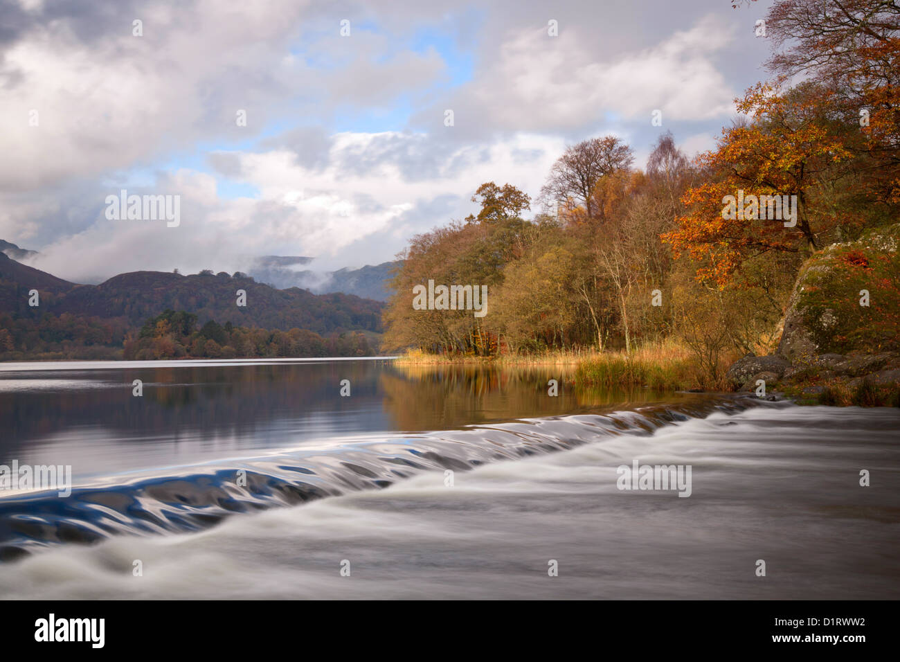 Grasmere weir autumn - Stock Image