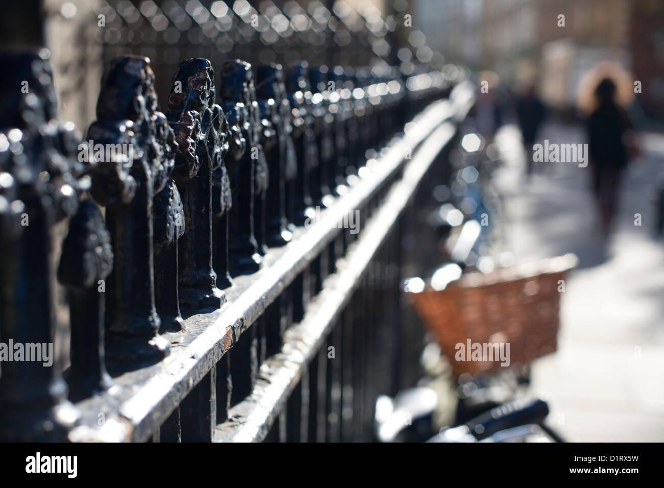 Cast Iron Railings on Trumpington Street Cambridge, England, UK - Stock Image