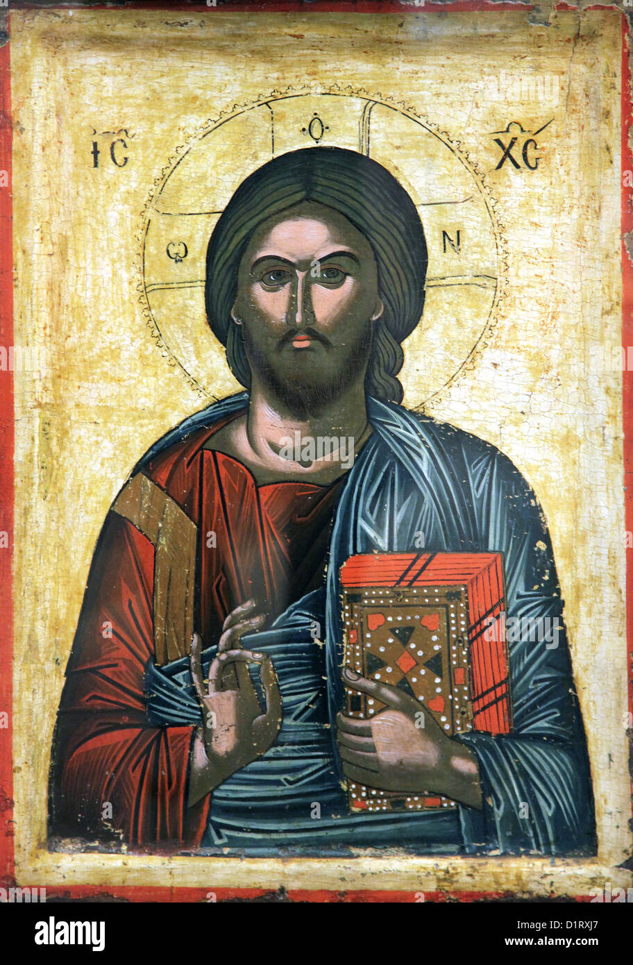 Christian iconography.Christ.Christus Pantocrator icon.egg tempera on wooden panel.post-byzantine. 17th century. - Stock Image