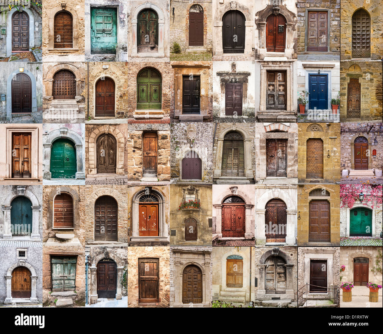 group of italian old doors - Stock Image