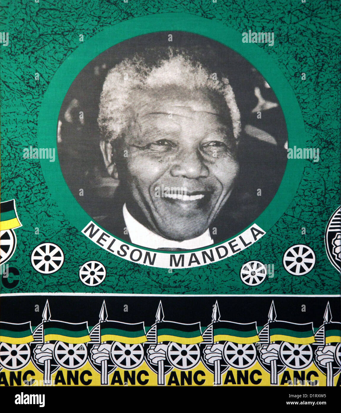 Nelson Mandela,flag of the African National Congress ANC,South Africa, banner, politics, - Stock Image
