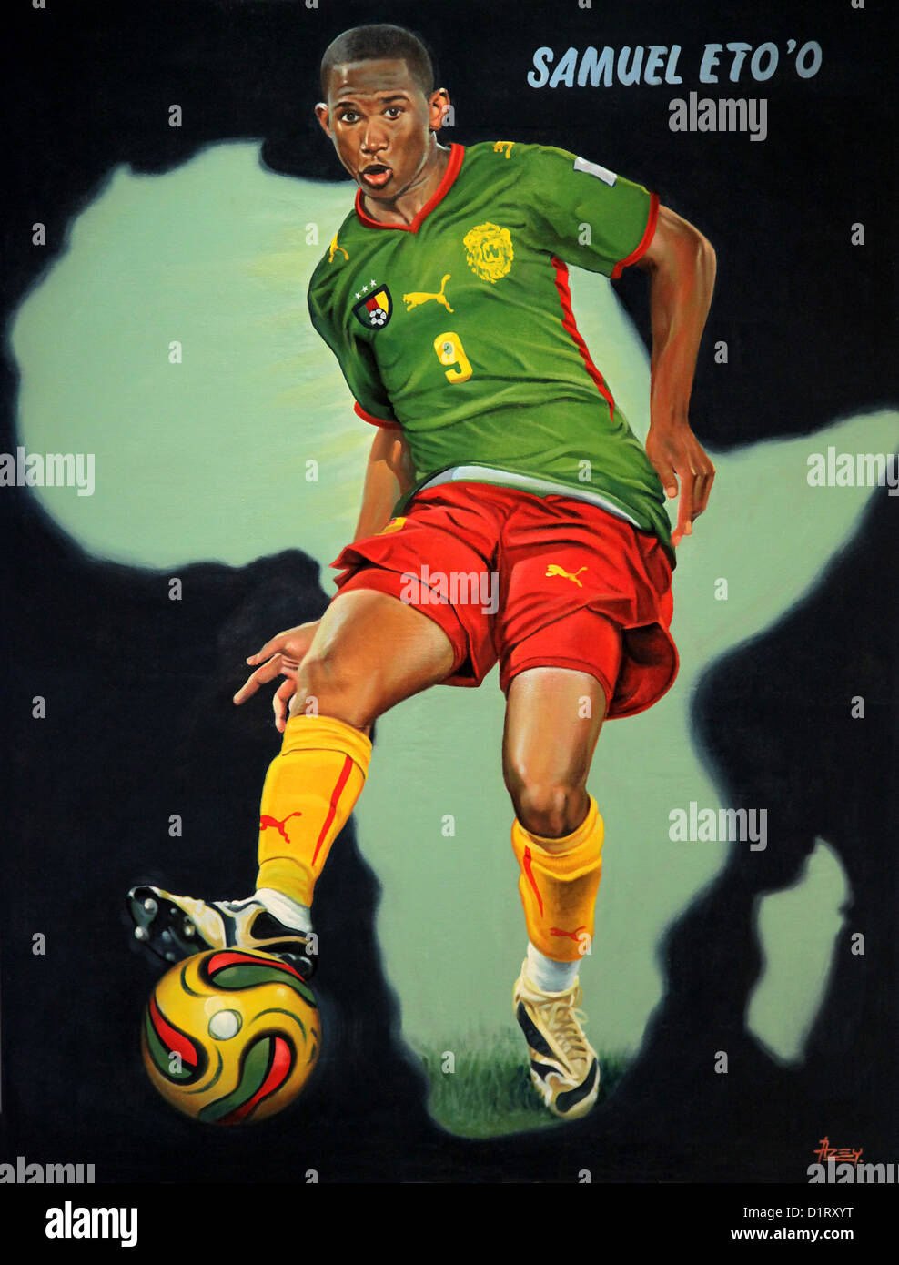 Painting of footballer Samuel Eto'o,painted by Isaac Okyere Asey,Kumasi,Ghana.2010.Oil on canvas. - Stock Image