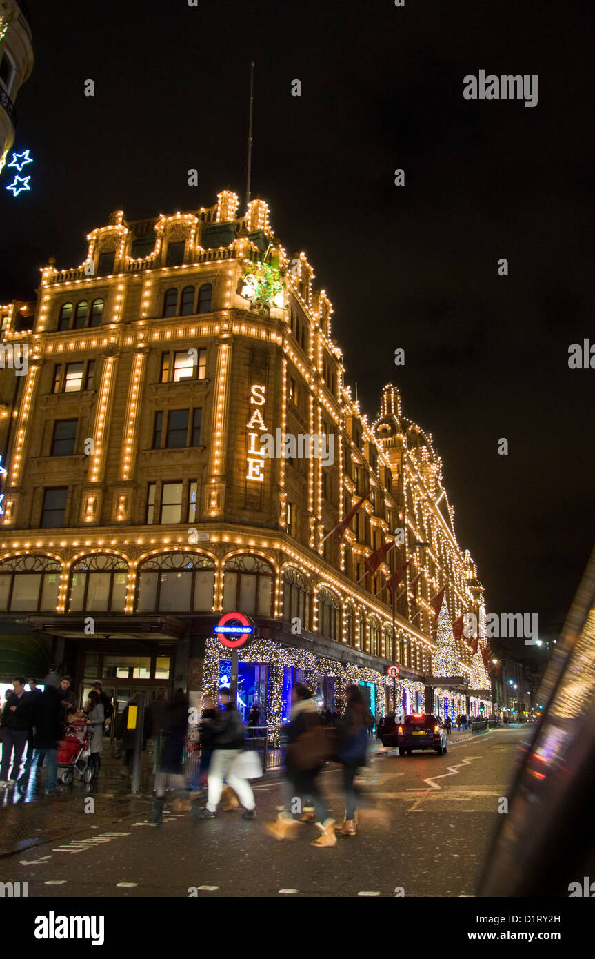 Harrods store Knightsbridge London England sale on after Christmas - Stock Image