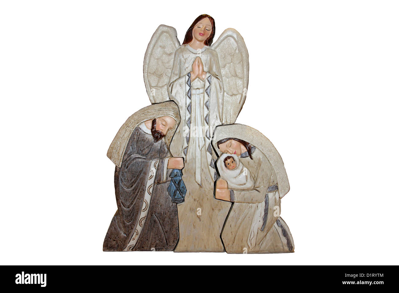 Christmas Decoration showing Mary, Joseph, Baby Jesus and An Angel Stock Photo