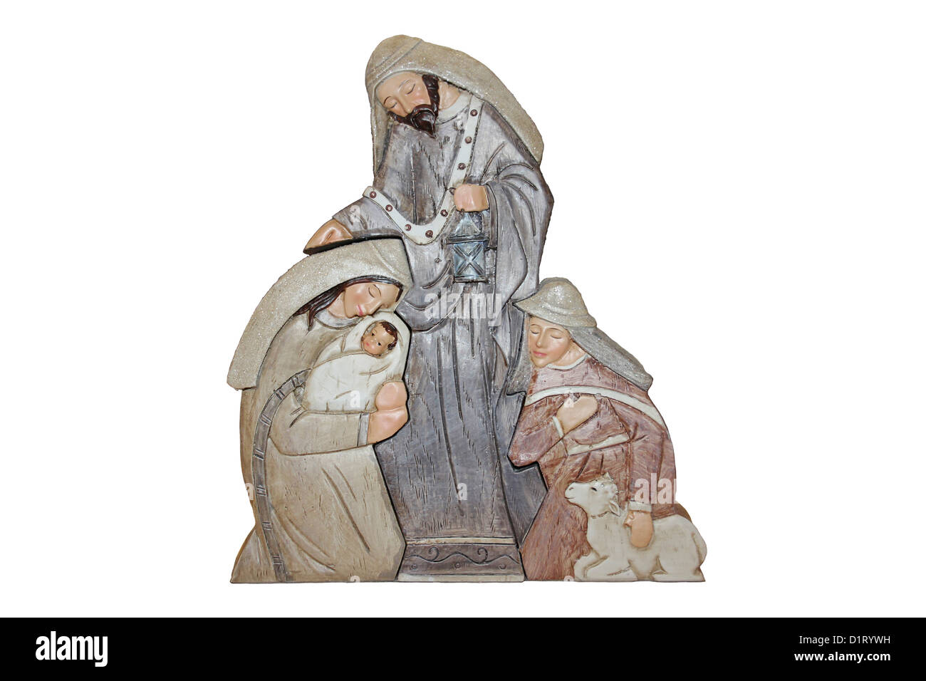 Christmas Decoration showing Mary, Baby Jesus and the Shepherds Stock Photo