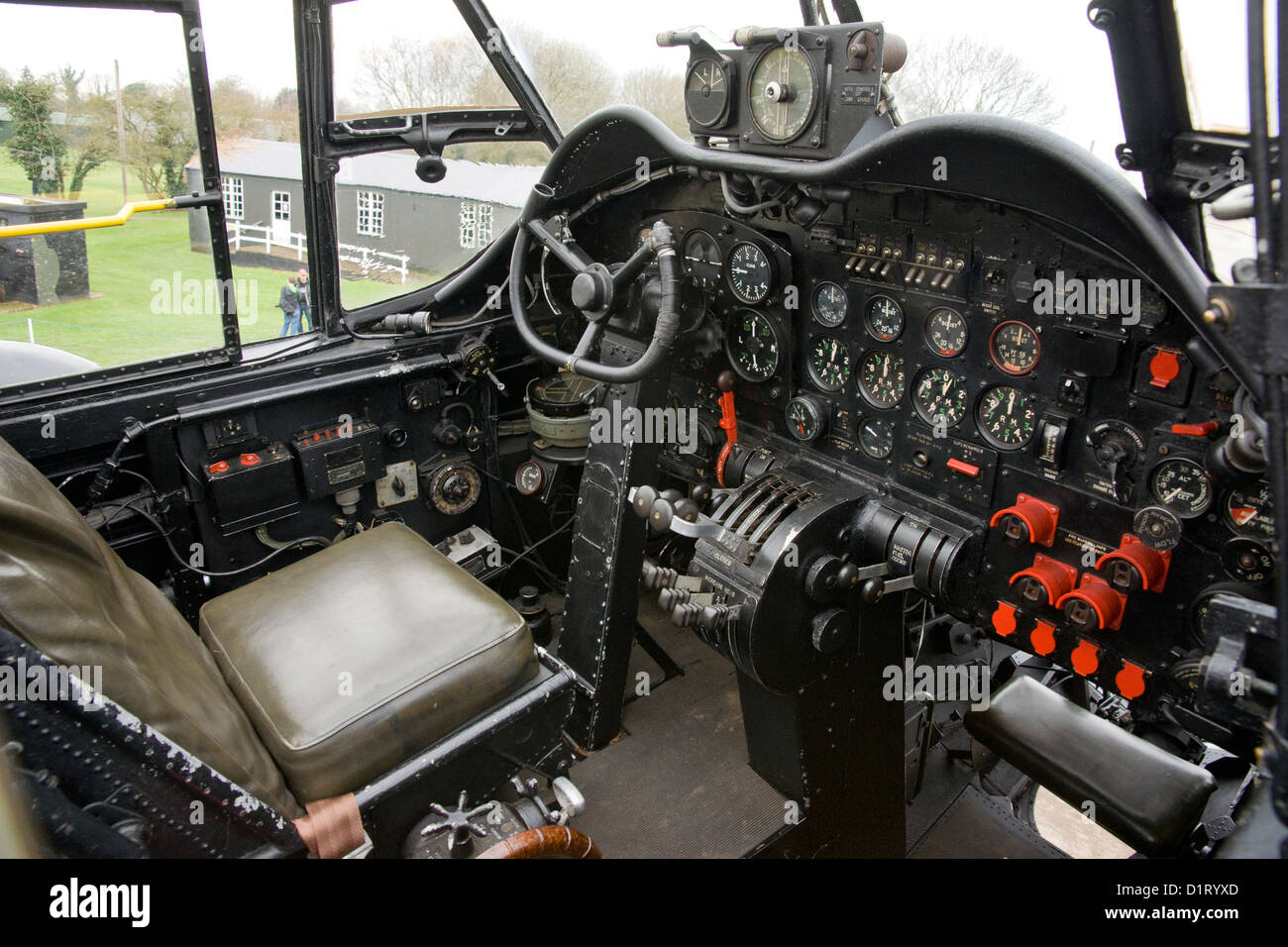 Avro Lancaster NX611 Bomber 'Just Jane' Cockpit at the Lincolnshire Aviation Heritage Centre East Kirkby - Stock Image