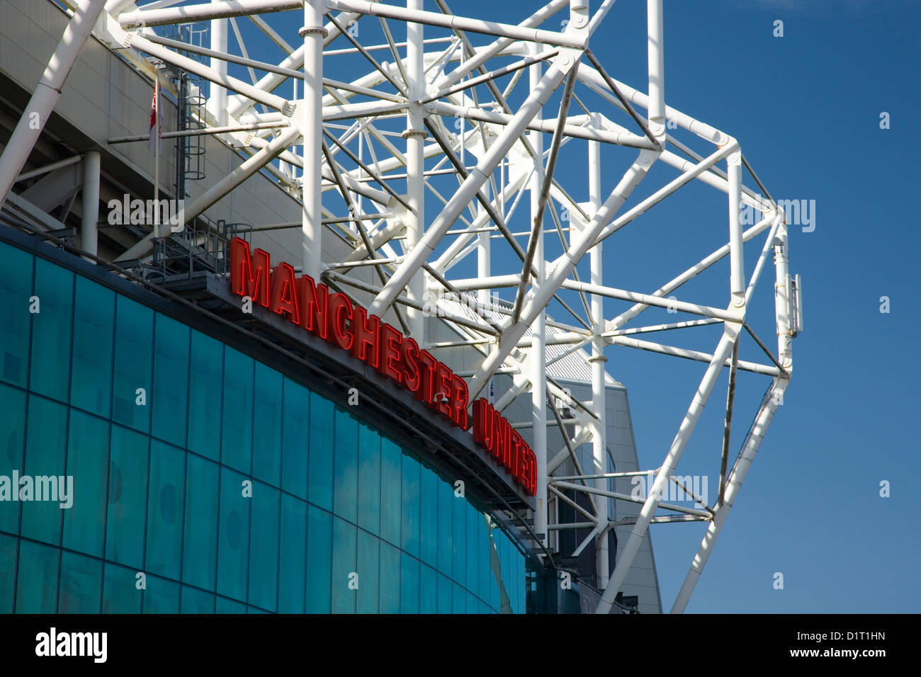 Old Trafford, Manchester, Greater Manchester, England. East façade of the Manchester United football stadium. - Stock Image