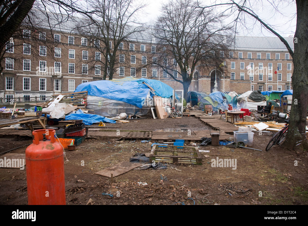 The mess and destruction left behind by protestors at the 'Occupy Bristol' camp - Stock Image