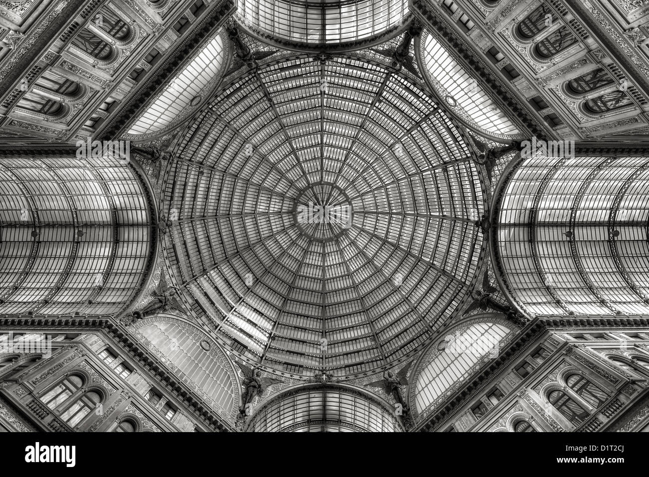Iron and glass domed roof Stock Photo