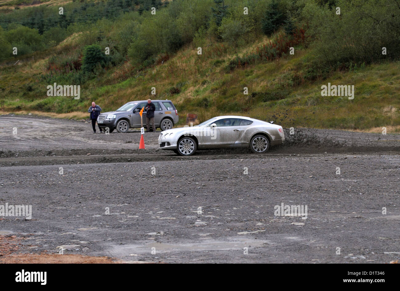 BBC filming a Bentley Continental GT for Top Gear during