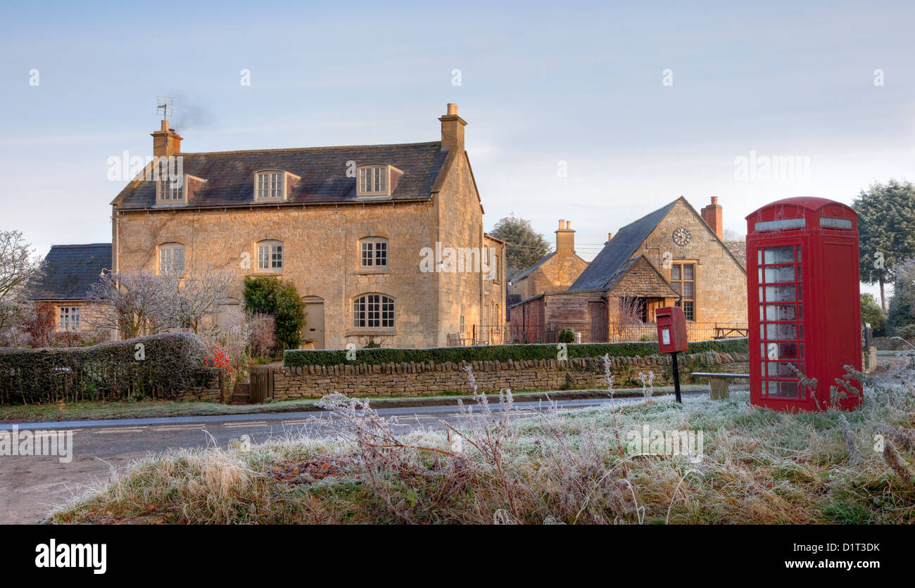 Cotswold village with phone box - Stock Image