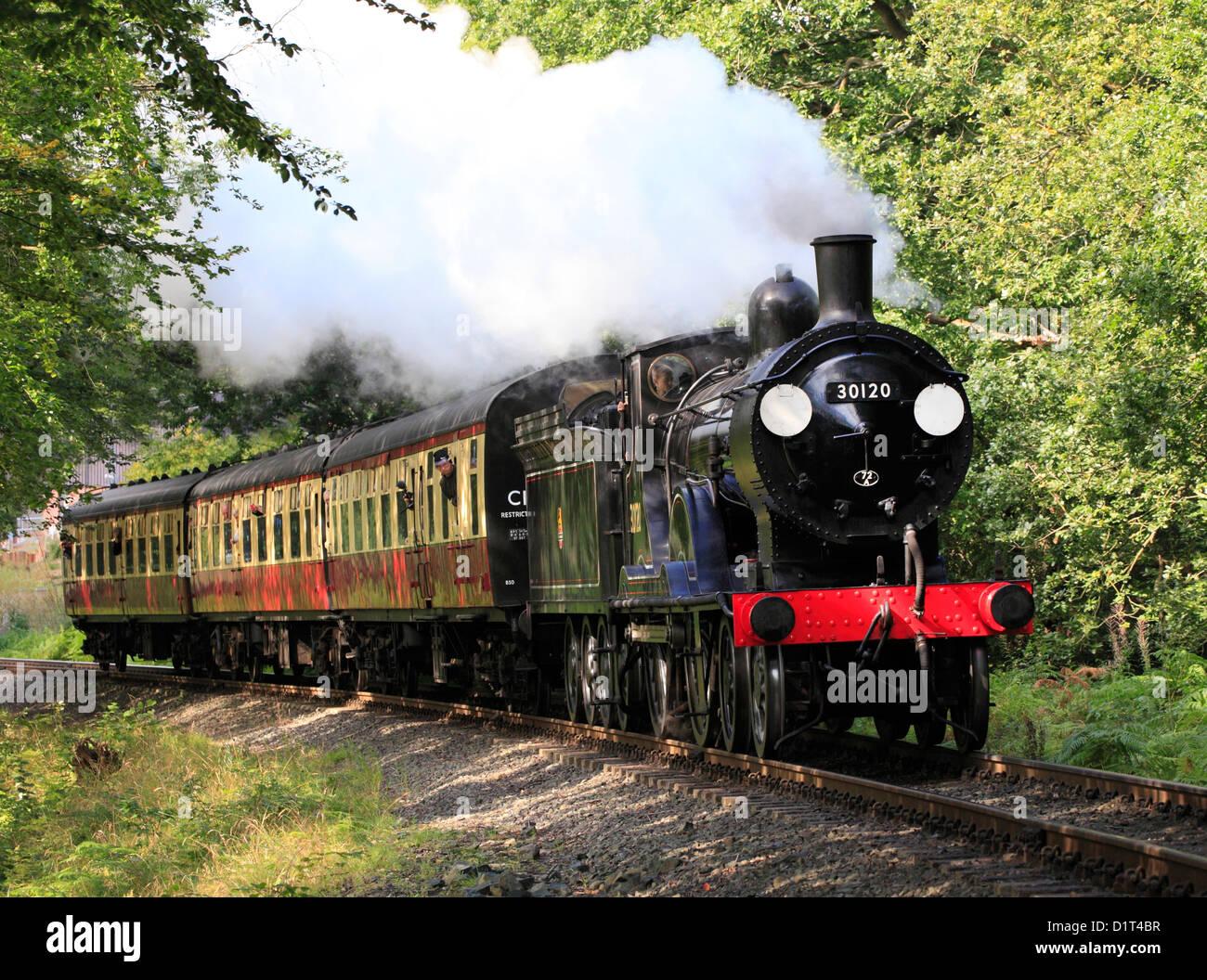The Drummond T9 4-4-0 No. 30120 Locomotive steams through Trimpley, Severn Valley Railway - Stock Image