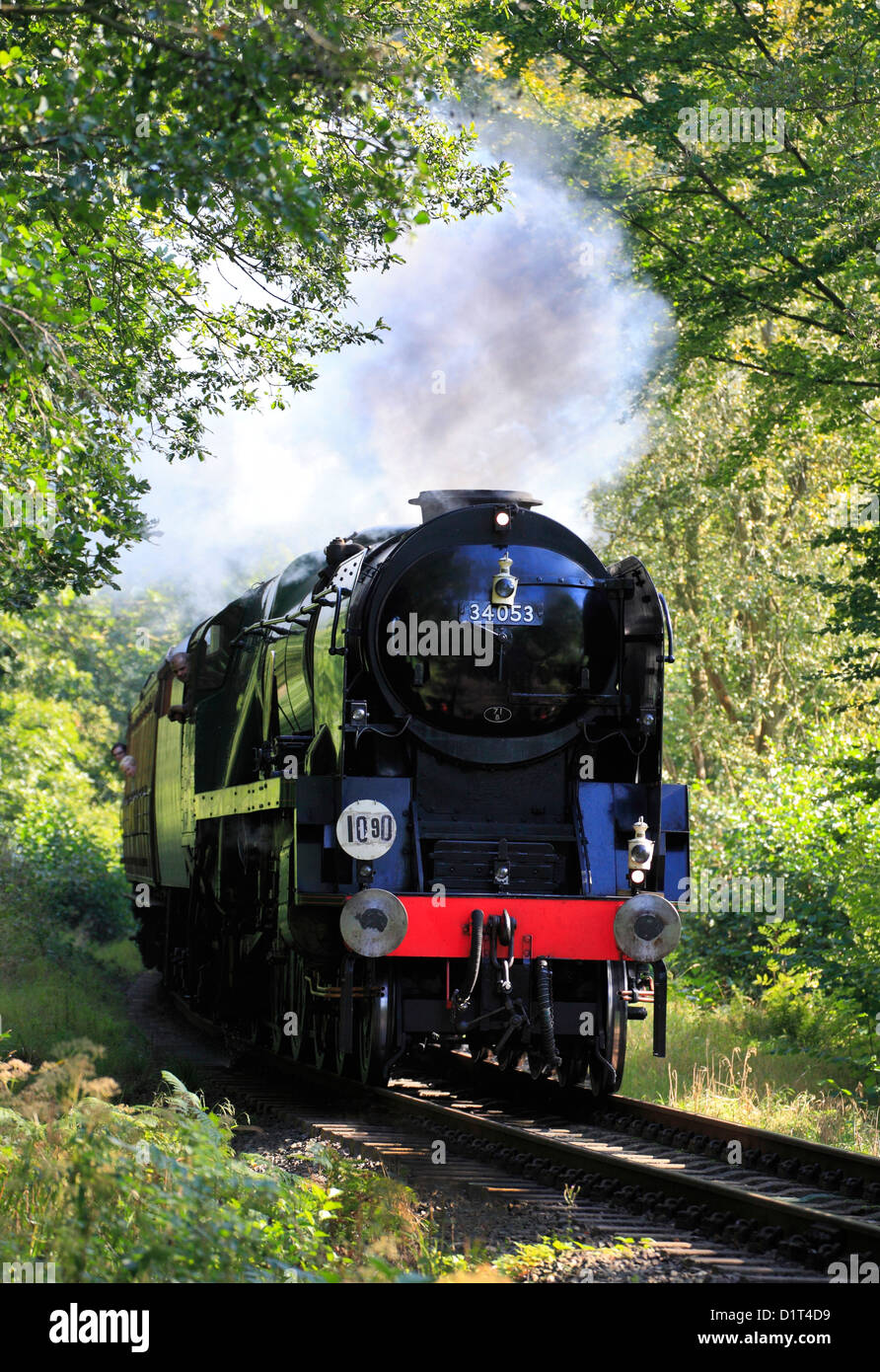 Bullied Pacific No.34053 4-6-2 'Sir Keith Park' thunders through Eyemore woods at Trimpley, Severn Valley - Stock Image