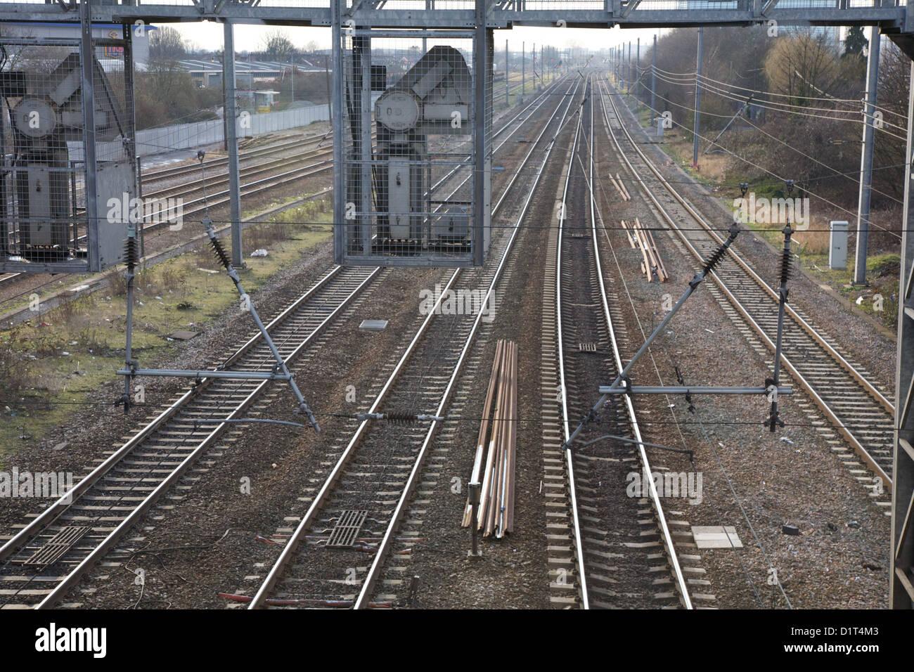 railway lines at Willesden Junction, London, UK, Europe, EU. - Stock Image