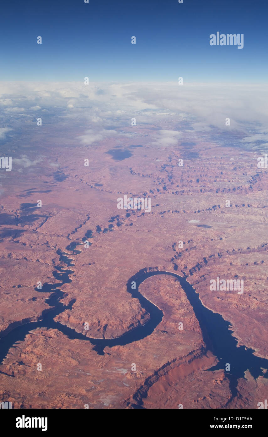 aerial image of Lake Powell and Escalante Canyon in the Utah Glenn Canyon Recreation Area - Stock Image