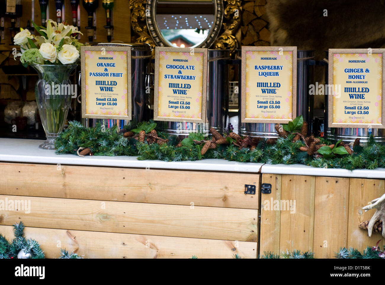 Mulled wine stall at Manchester Christmas market, England, UK - Stock Image