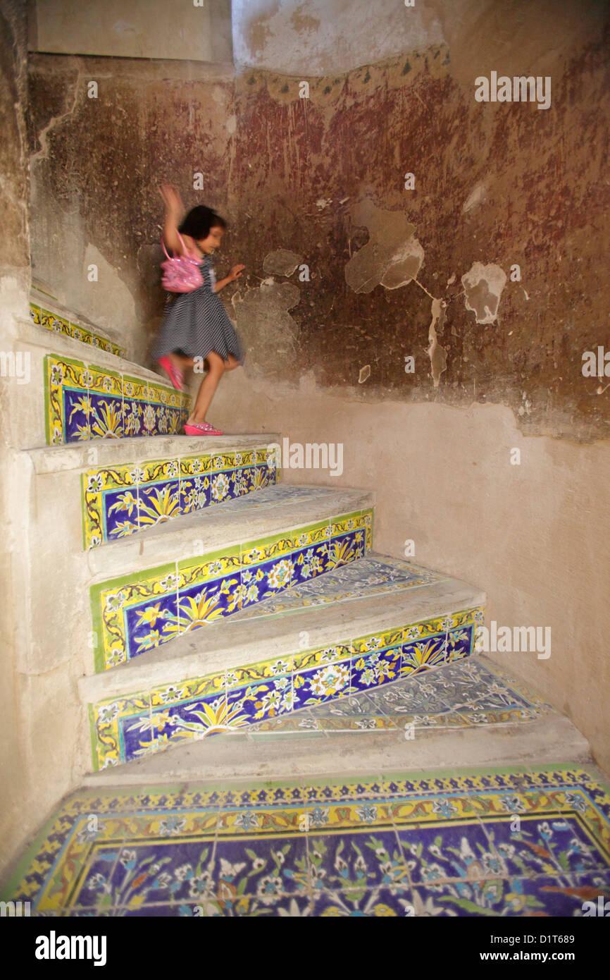 Interior stairs at Ali Qapu palace, Isfahan, Iran Stock Photo