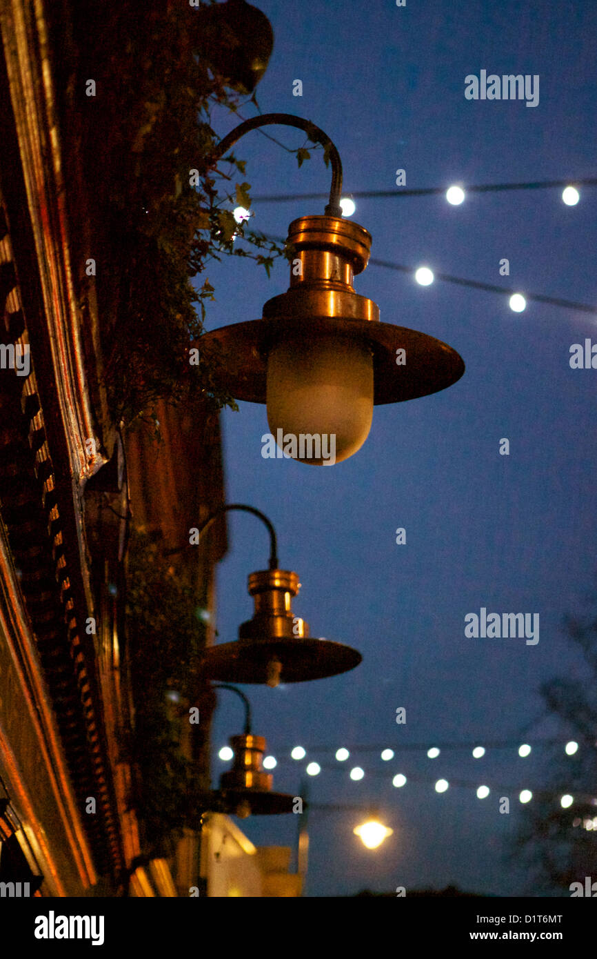 Lamps Outside A Pub In London At Night Stock Image