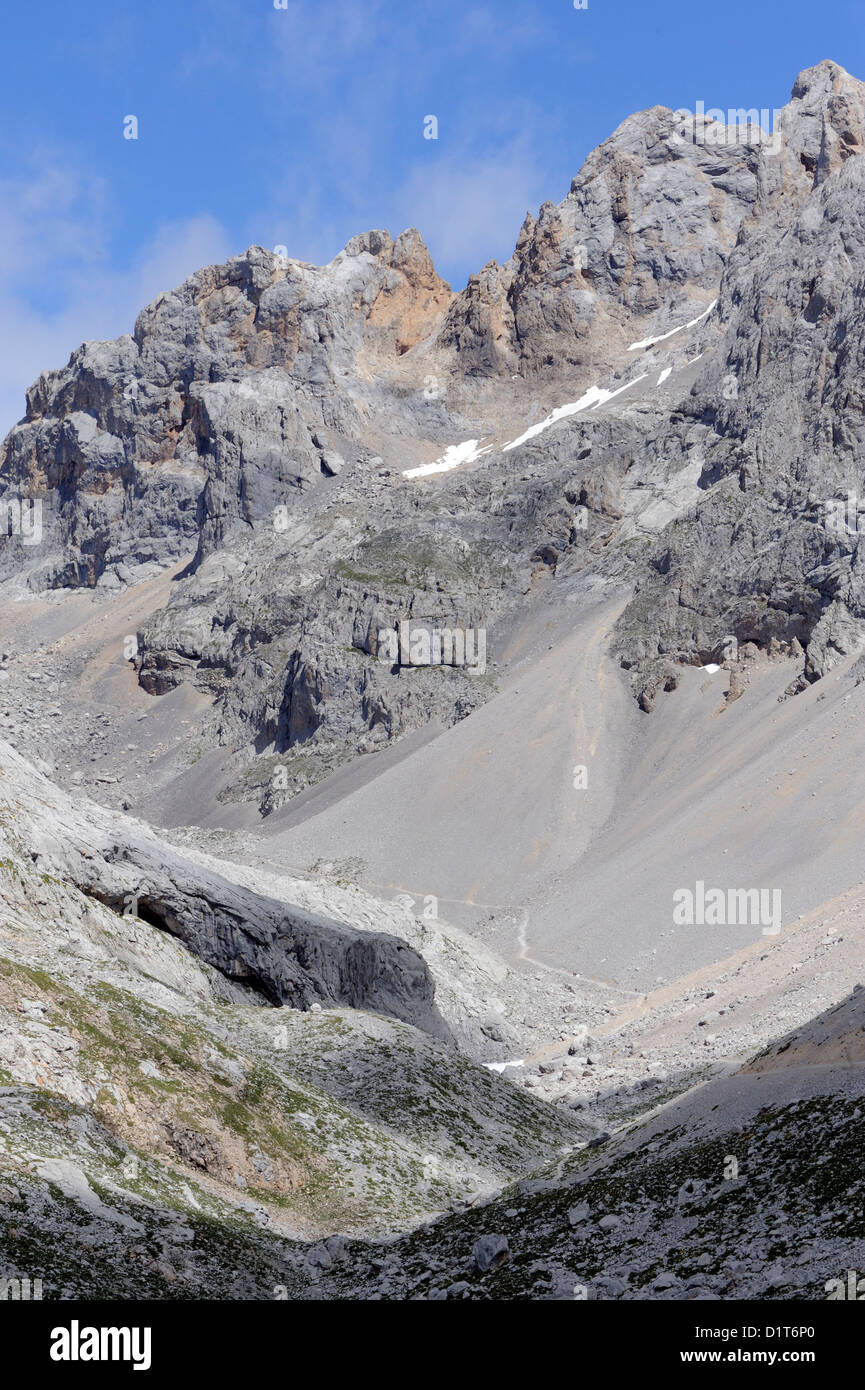Limestone mountains and the mountain path above the Fuente De cable car. Picos de Europa. Spain - Stock Image