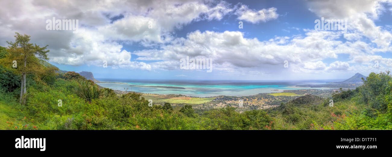 Panoramic view on beautiful coast in Mauritius - Stock Image