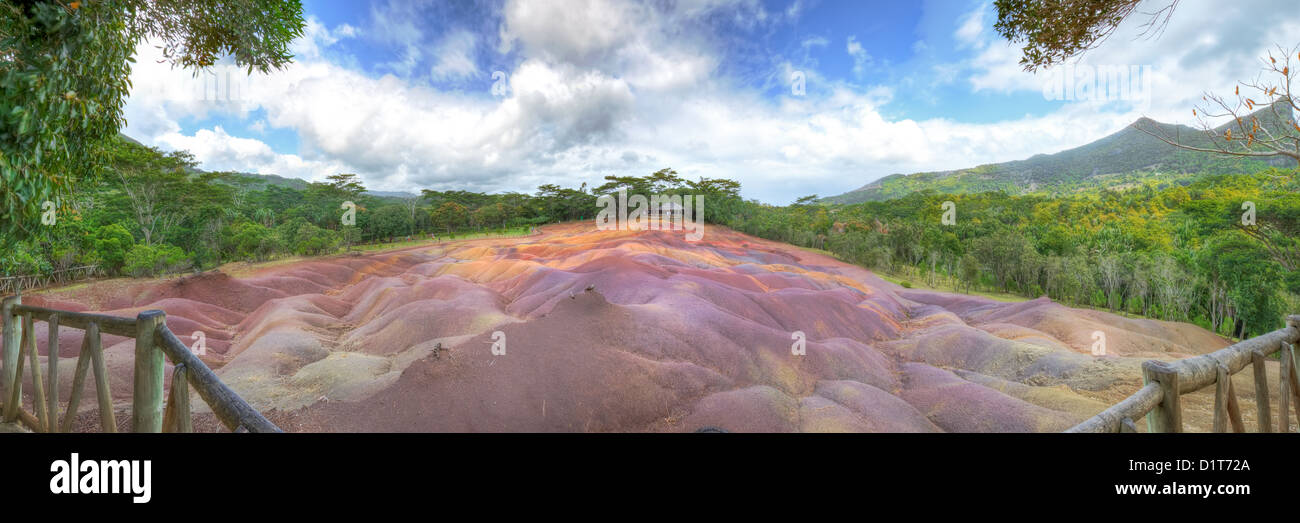 Panoramic view of seven coloured earth of Chamarel in Mauritius - Stock Image