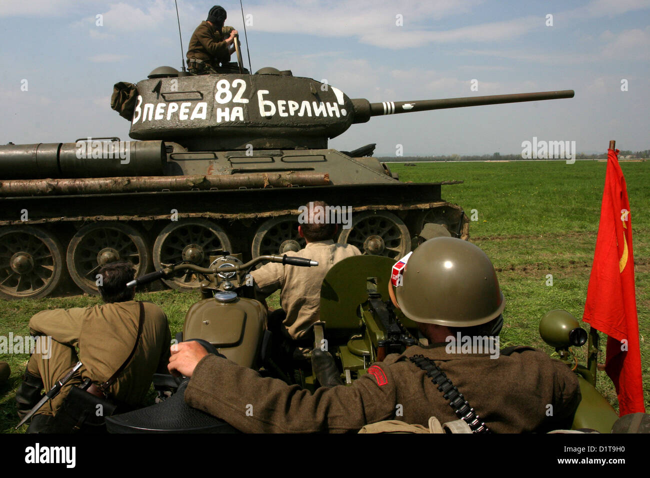 Reconstruction of the Battle of World War II, the liberation of Ostrava, Airfield Mosnov, Czech Republic, re-enactment - Stock Image