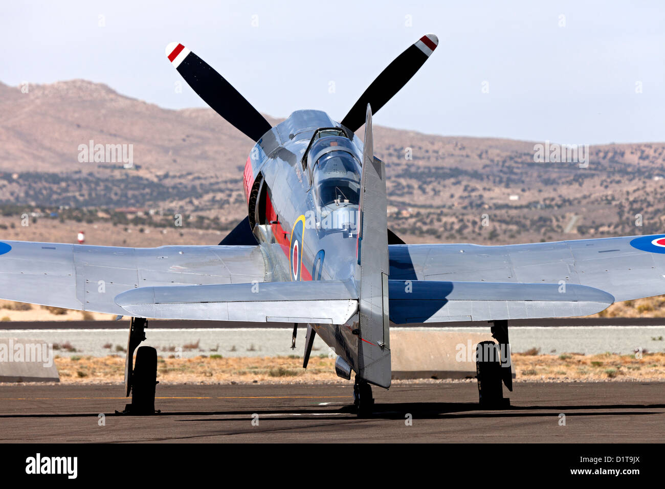 Hawker Sea Fury 'Dreadnought' on the ramp at the 2012 Reno National Championship Air Races. - Stock Image
