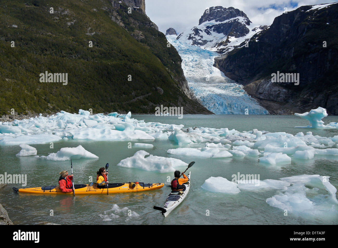 Kayakers at Serrano Glacier, Bernardo O'Higgins National Park, Patagonia, Chile - Stock Image