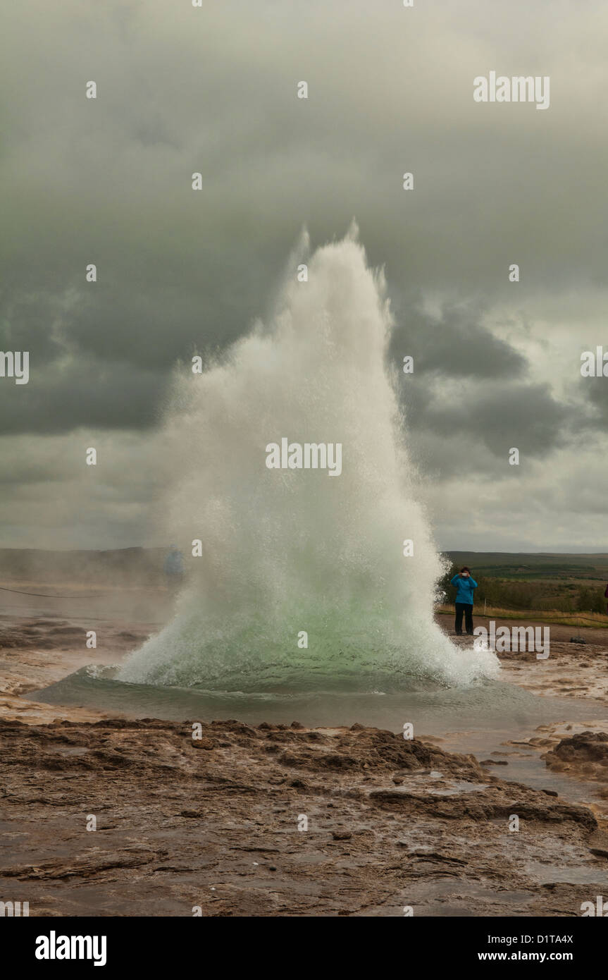 The Great Geysir erupting in southwestern Iceland - Stock Image