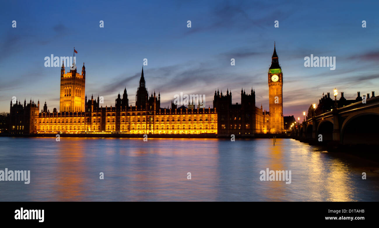 Houses of Parliament at  the blue hour - HDR version as seen from the Thames river walk, London, England Stock Photo
