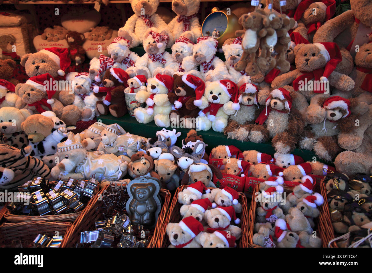 Goods and stalls at the Christmas markets in Cologne City, North Rhine-Westphalia, Germany, Europe - Stock Image